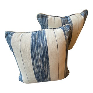 Blue Stripe Woven Pillows - a Pair For Sale
