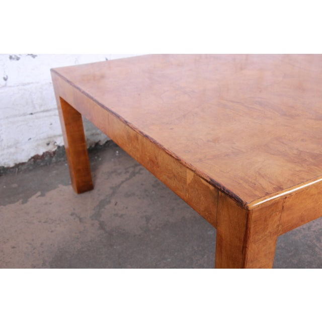 Wood Mid-Century Burl Wood Parsons Coffee Table For Sale - Image 7 of 9