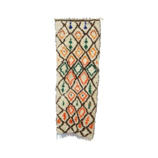 1980s Vintage Azilal Moroccan Rug - 3′ × 8′ For Sale