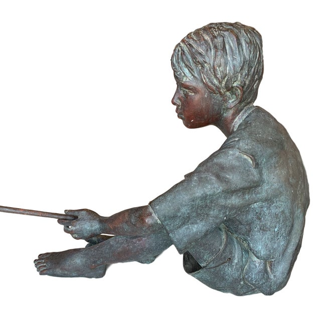 """Susanne Vertel (American 20th /21st C) """"Dream Catcher,"""" 1994 Limited Edition Bronze A boy sits is lost in day dreams as he..."""