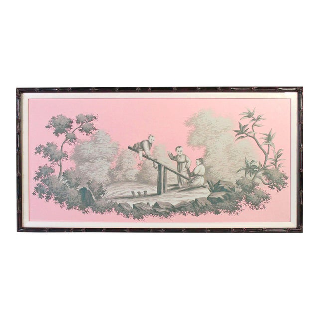Vintage Chinoiserie Artwork of Children Playing Painted in Grisailles on Pink Background For Sale
