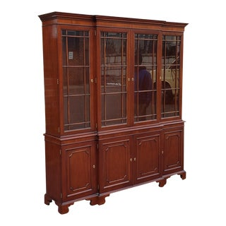 Kindel Furniture National Trust Large Mahogany 2 Piece Dining Room Breakfront China Cabinet 1990s For Sale