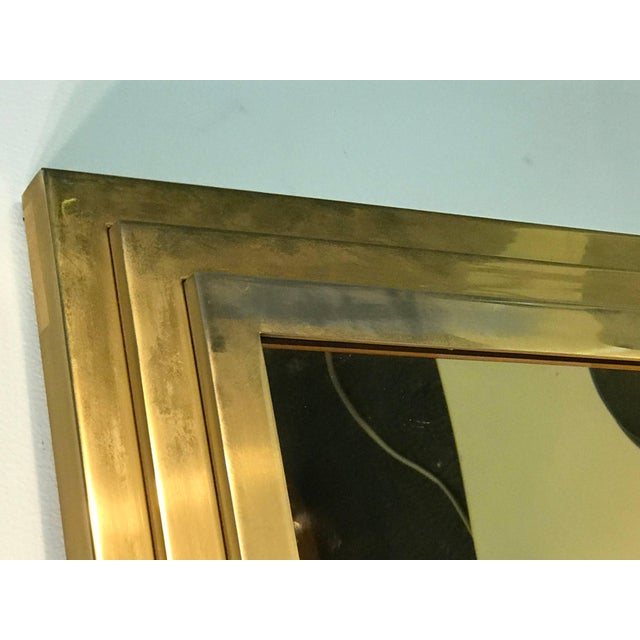 Modern Square Gold Tone Framed Metal Mirror For Sale - Image 4 of 10