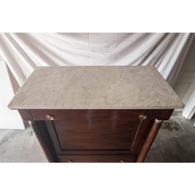 Empire 19th Century French Empire Marble Top Secretaire For Sale - Image 3 of 11