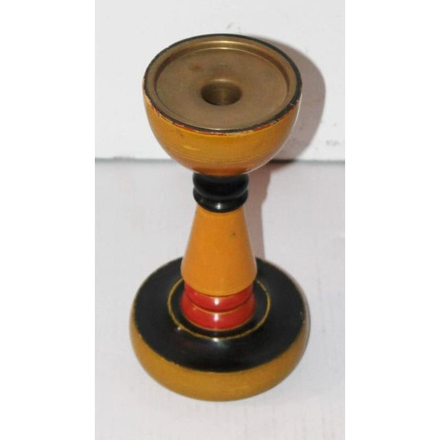 1980s Collection of Three Polychrome Original Painted Candleholders For Sale - Image 5 of 10
