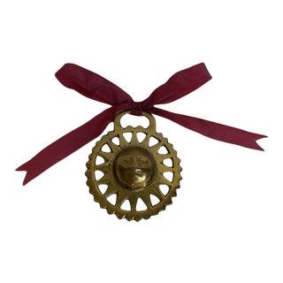 Antique Horse Brass Sun Face Ornament For Sale