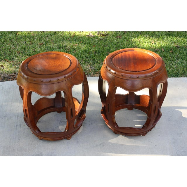 Vintage Asian Rosewood Drum Stools - A Pair - Image 6 of 11