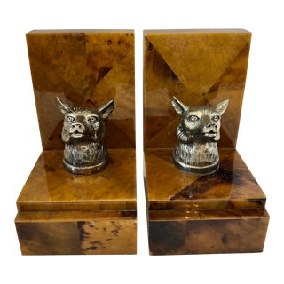 1980s Vintage Penshell Bookends With Fox Head - a Pair For Sale