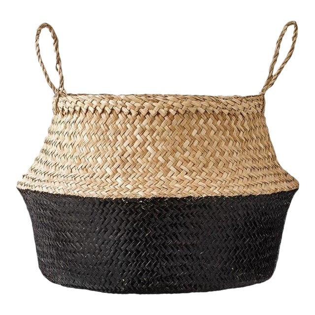 Medium Black Dipped Sea Grass Belly Basket For Sale