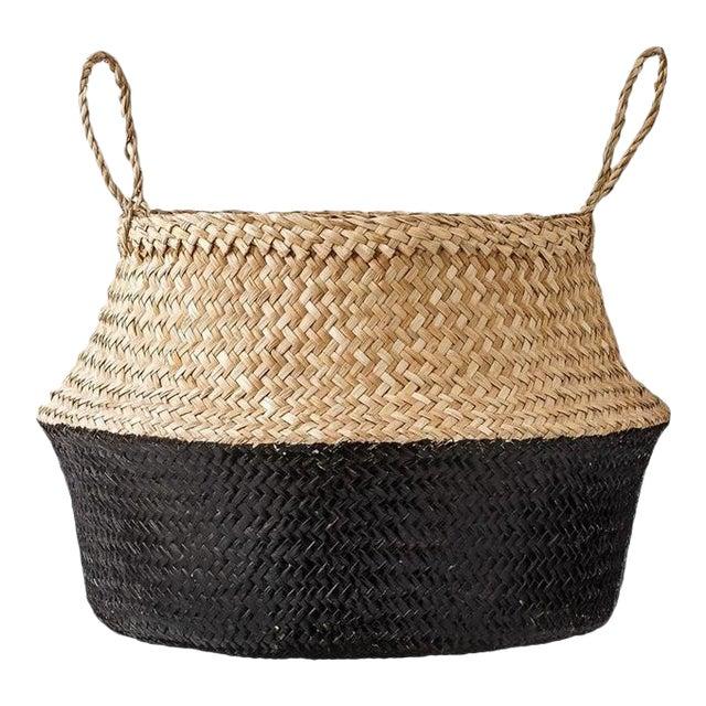 Medium Black Dipped Sea Grass Belly Basket - Image 1 of 6