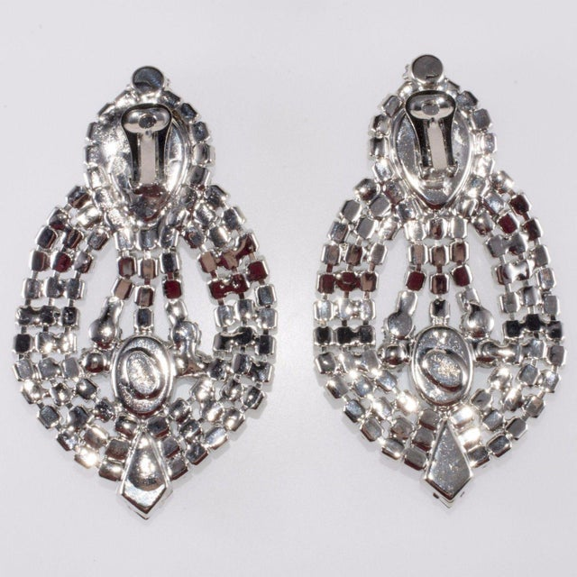 """Modern Dominique Earrings Blue Rhinestone Clips Drag Queen Statement 4 1/2"""" Huge For Sale - Image 3 of 4"""