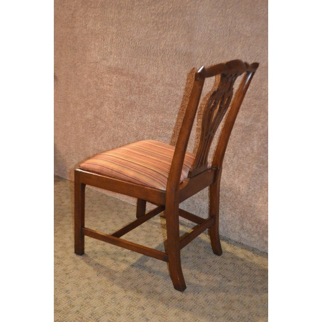 Fabric Vintage Ardley Hall Mahogany Chippendale Style Chairs - Set of 8 For Sale - Image 7 of 13