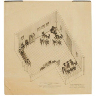 1955 Recreation Room Architectural Rendering prepared by Rucker Fuller For Sale