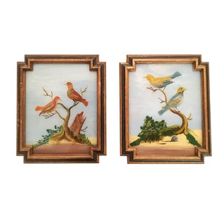 Traditional Painting of Red and Yellow Birds - a Pair