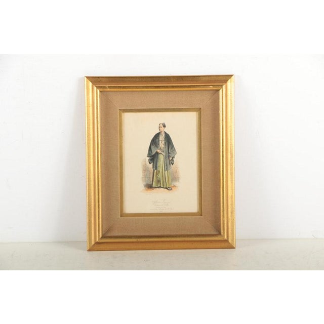 Metal Vintage 19th Century Japanese Costumes Hand Colored French Intaglio Prints - a Pair For Sale - Image 7 of 11