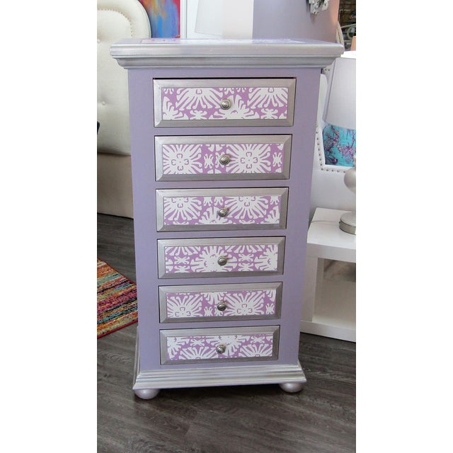 Tall lingerie highboy chest of drawers. The pine Broyhill dresser has been given a make over with lavender paint accented...