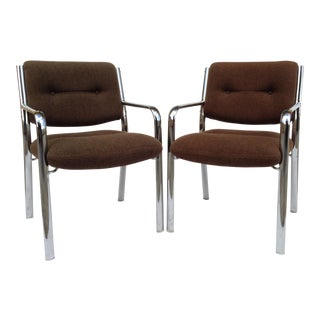 Vintage Chrome Arm Chairs w/Knoll Textile - A Pair