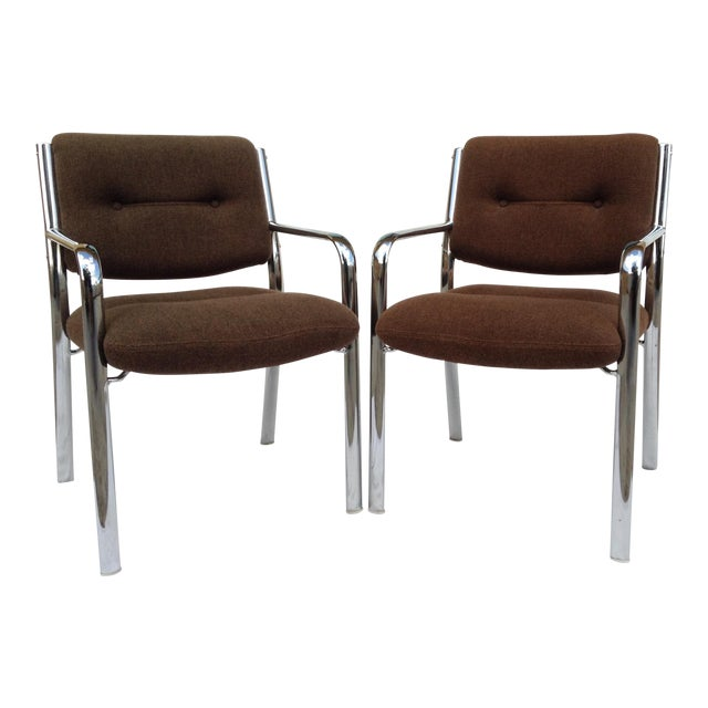 Vintage Chrome Arm Chairs w/Knoll Textile - A Pair - Image 1 of 11