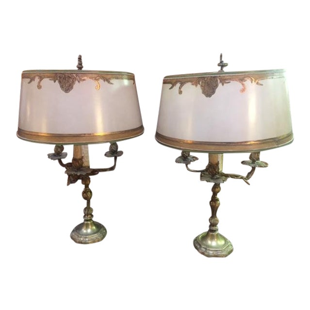 Early 20th Century Antique French Bronze Candle Lamps - A Pair For Sale