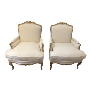 1960's Vintage Baker Furniture Reupholstered Bergere Chairs- a Pair For Sale