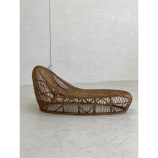 Bohemian dream bamboo chaise lounge designed by Franco Albini. In good vintage condition, some minor signs of wear....