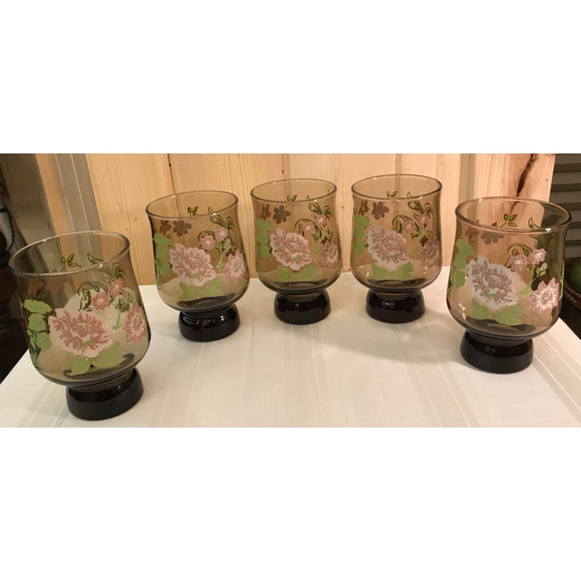 Mid-Century Modern Mid-Century Modern Smoked Glasses With Embossed Design - Set of 5 For Sale - Image 3 of 11
