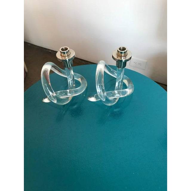 Pr of Mid Century Modern Dorothy Thorpe Lucite & Silver Pretzel Candlestick Holders - Image 2 of 7