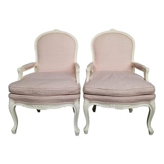 Vintage Louis XVI Style Distressed Cream Painted Bergere Chairs - a Pair For Sale