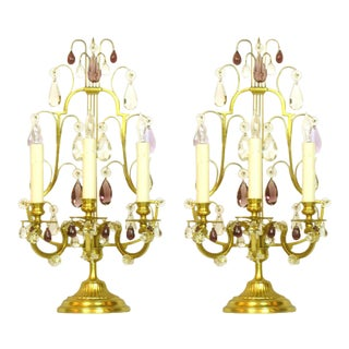 Pair of Candelabras with Amethyst Crystals For Sale