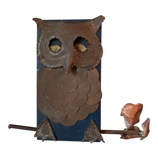 Brutalist Owl Wall Sculpture For Sale
