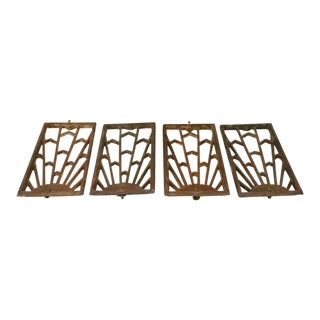 Vintage Art Deco Cast Iron Grate Vent Covers - Set of 4