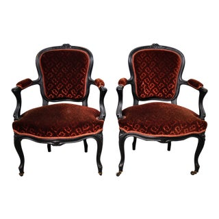 Pair of French Louis XV Tossed Floral Red Velvet Fauteuil Armchair For Sale