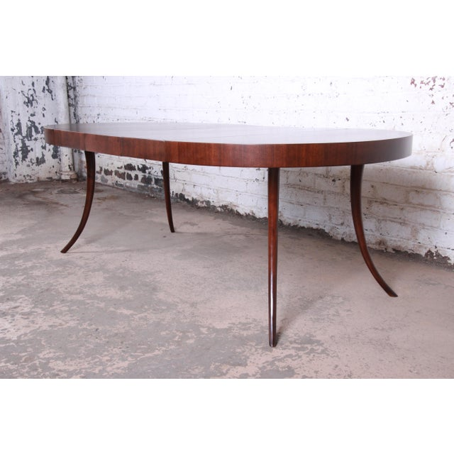 Widdicomb Robsjohn-Gibbings for Widdicomb Mid-Century Modern Walnut Saber Leg Extension Dining Table, Newly Restored For Sale - Image 4 of 13