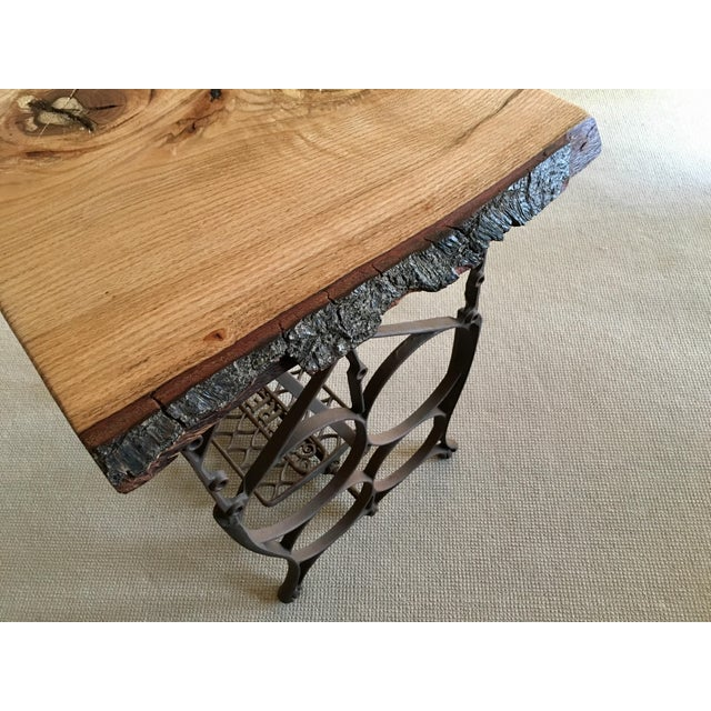 Brown Live Edge Console with Sewing Machine Base For Sale - Image 8 of 10