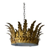 Image of Spanish Gilt Metal Crown Ceiling Fixture For Sale