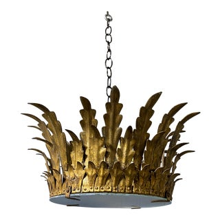 Spanish Gilt Metal Crown Ceiling Fixture For Sale