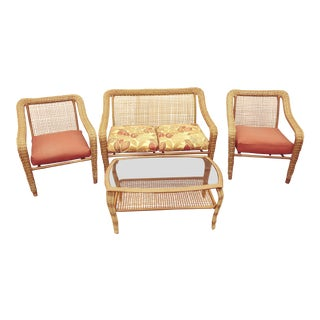 1970's Style Outdoor Lounge Set- 4 Pieces For Sale