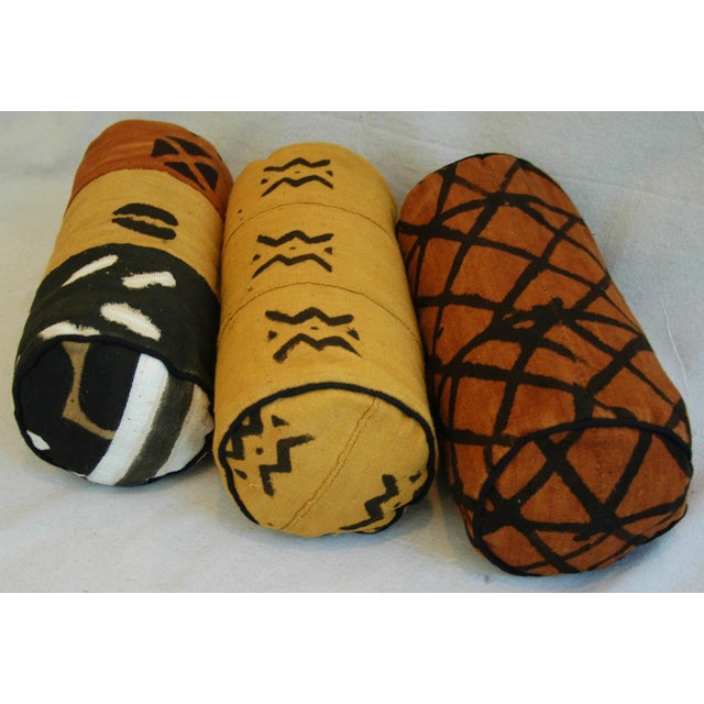 Tribal Mud-Cloth Bolster Accent Pillows - Set of 3 - Image 7 of 9