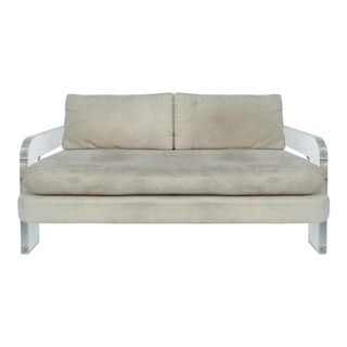 Mid-Century Modern Lucite Loveseat Sofa For Sale