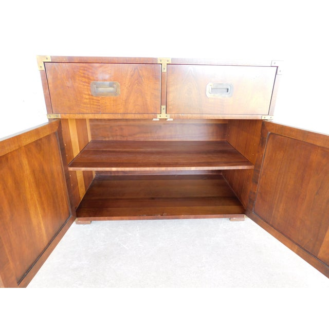 """Henredon Campaign Style 2 Drawer 2 Door Chest 30""""h X 36""""w For Sale In Philadelphia - Image 6 of 10"""