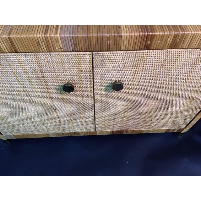 Modern Pair of Rattan & Wicker Brass Accented Etageres For Sale - Image 10 of 10