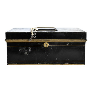 Antique Black & Gold Tole Metal Box For Sale