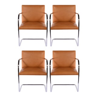 Chrome Tubular Brno Chairs by Knoll - Set of 4 For Sale