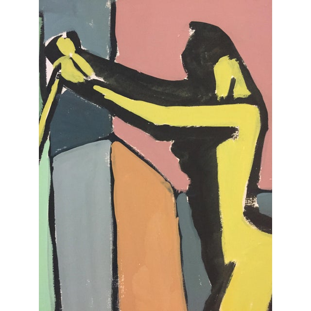 """Abstract 1940-50s Bay Area Figurative Movement Painting """"Stick"""" For Sale - Image 3 of 5"""