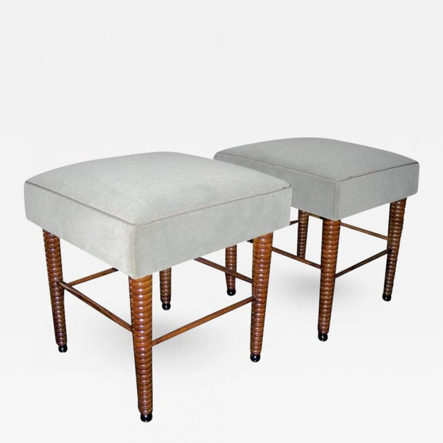 1940s Chic Pair of Stools With Exquisite Legs by Maison Jansen For Sale - Image 5 of 5
