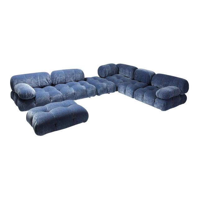Mario Bellini Camaleonda Sectional Sofa in Blue Velvet For Sale