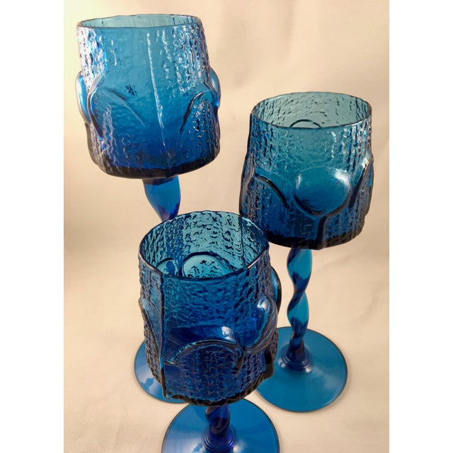 Vintage Stelvia Early 1960s Antiqua Candle Holders Designed by Blenko's Wayne Husted - Set of 3 For Sale In Los Angeles - Image 6 of 11