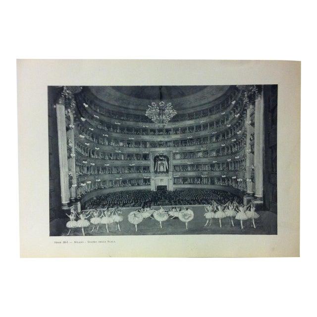 """Circa 1930 """"Teatro Della Scala"""" Print of Milano, Italy For Sale"""