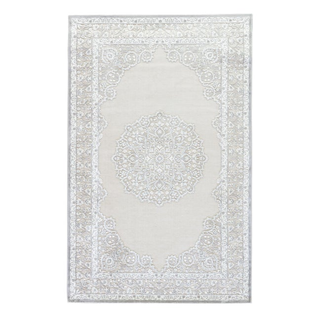 """Contemporary Jaipur Living Malo Medallion Gray & White Area Rug - 7'6"""" X 9'6"""" For Sale In Atlanta - Image 6 of 6"""