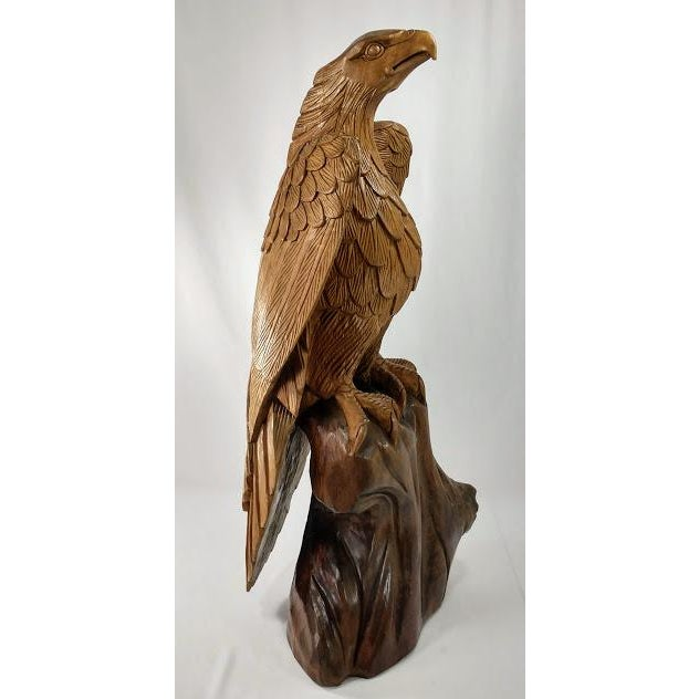 Superb Vintage Life Size 34 in Tall Golden Eagle Statue Hand Carved From One Piece of Wood For Sale - Image 4 of 13